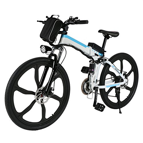 Minilism Faltbares E-Bike, Elektrofahrrad Klapprad 36V 250W Mountainbike, Große Kapazität Pedelec mit Lithium-Akku und Ladegerät (20Zoll/26Zoll) (26'' Sechs Messer-Rad (weiß))