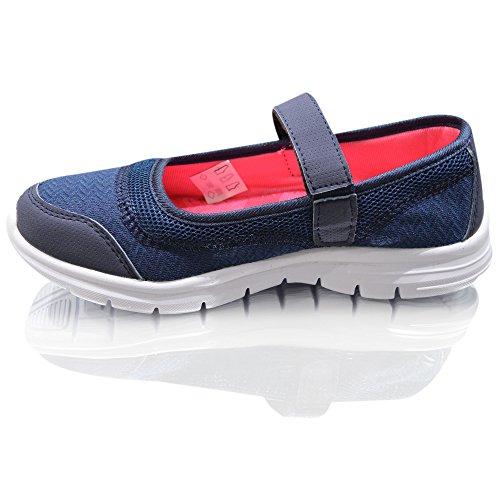 Air Tech femmes formateurs Slip sur pompes Mocassins Chaussures Casual taille Denim Blue Pink