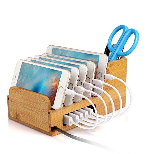 Bambus Ständer Upow universal multifunktionelle Ladestation und Organizer Docking Station Ladestationfür iPhone, iPad, MacBook Air, Samsung, Smartphones, Tablets & Laptops