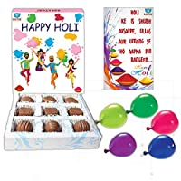 BOGATCHI Happy Holi Chocolate Gift Box for Friends and Family, 9 pcs + Free Greeting Card + Holi Balloons