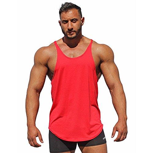 UJUNAOR Mann Tops Tank Tankshirt Weste Muscleshirt Herren Bodybuilding Tank Top Sport Weste Gym Ohne Arm T-Shirt (Rot,EU XL/CN 2XL)