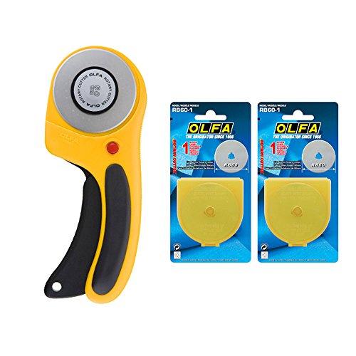 Olfa RTY Rotary Cutter 3/DX 60mm ergonomischer Griff mit gratis 2Rotary Blade