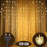 Marvelights Vorhang Lichterketten, 2M Breit 1,5M Hoch 128 LED Herz Vorhang Innen Lichterketten mit 8 Modi Stimmung Beleuchtung Dekorative Lichterketten für Hochzeitsfeier