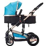 ERRU- Paesaggio di alta Passeggino / può essere seduti o sdraiarsi bambino piegato multi-funzione a due vie a quattro ruote del carrello(colori opzionali) Veicolo fuoristrada leggero con tenda da sole ( Colore : Blu )