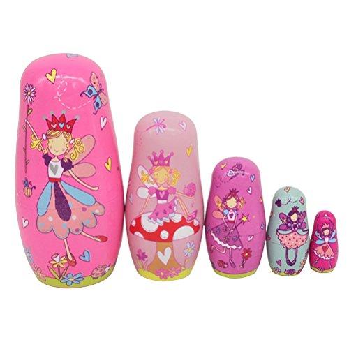 ULTNICE 6 piezas muñecas de anidación rusas Matryoshka wood angel apilamiento muñeca de juguete
