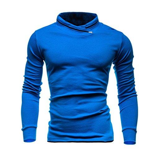 Herren Langarm Pullover Solide Mode Schlank Entworfene Sweatshirts Top Bluse By Dragon (Blau, S)