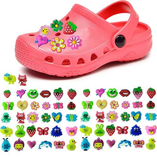 ZOYLINK 50 STÜCK Schuhe Charme Schuhanhänger für Crocs Schuhe Dekoration Charme Modische süße Blume Form PVC Schuhe Dekor (Zufällige Stil/Farbe) (Armband Crocs)
