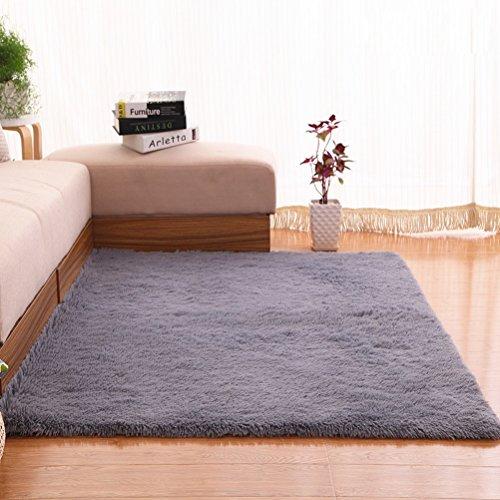 LUYIASI- Alfombra pelo corto gris plateado 120x160cm Non-Slip Mat ( Color : Gris )