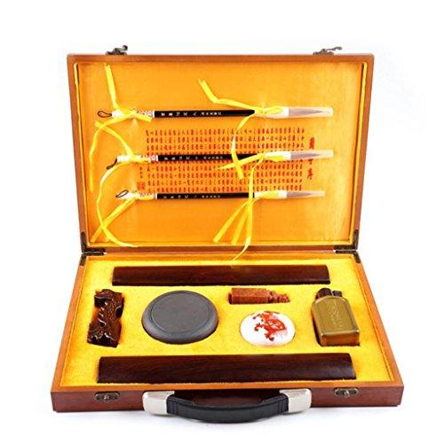 YHKQS-KQS Chinesische Geschenk-Set - Kalligraphie-Schreibset (Schreibbürste, Tinte, Reispapier, Tintenstein)