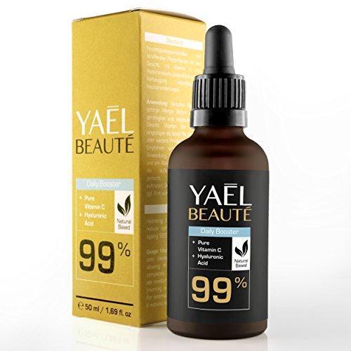 YAEL BEAUTÉ: Daily Booster - 99% natürliches Vitamin C Serum mit Hyaluronsäure für die tägliche Anwendung - Feuchtigkeit, Schutz und...