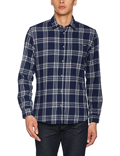 JACK & JONES Jorlarson Shirt LS, Camisa para Hombre, Multicolor (Peacoat Fit:Slim), X-Large