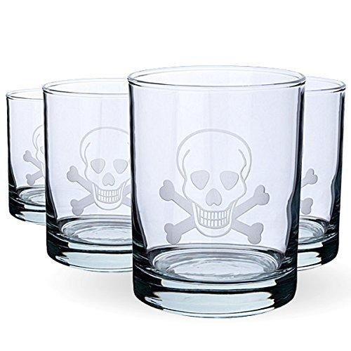 Skull & Cross Bones Double Old Fashioned Glasses - 14 oz - Set of 4 by Rolf Glass 14 Oz Double Old Fashioned