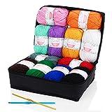 SOLEDI Pelotes de Laine en Acrylique, Kit de Fil Acrylique Hyper Doux pour Tissage à La Main Avec 2 Crochets et Sac de Rangement Réutilisable (50 g * 12 Couleurs)...