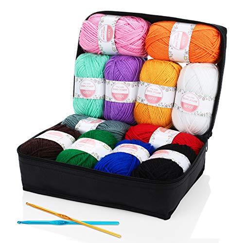 SOLEDI Häkelgarn 12 Farben * 50g Wolle Zum Häkeln Acryl Wolle Serie Einweg Handstrickgarn Baumwollgarn für Häkeln und Kunsthandwerk, 12 Farben -