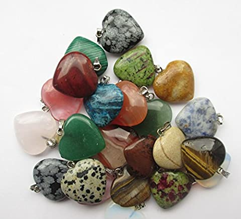 12 x HEART GEMSTONE Random Mixed Gemstones & Colours Charms Pendants Beads