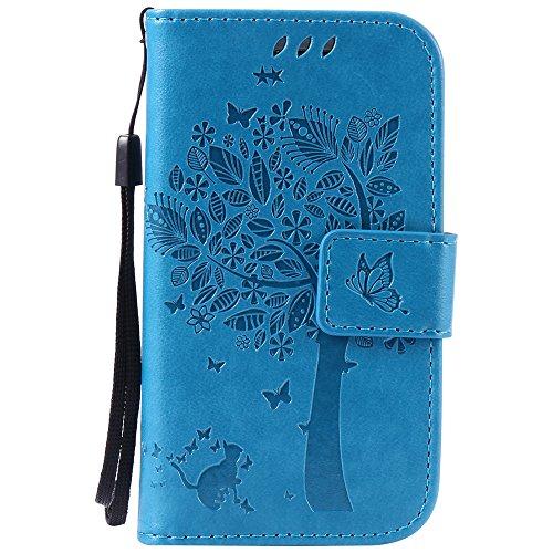Nancen Tasche Hülle für Samsung Galaxy S3 Mini / i8190 (4,0 Zoll) Flip Schutzhülle Zubehör Lederhülle mit Silikon Back Cover PU Leder Handytasche im Bookstyle Stand Funktion Kartenfächer Magnet