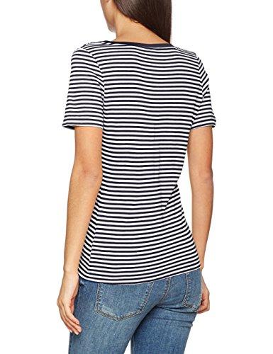 Vero Moda Vmmarley Stripe Ss V-Neck Top Jrs, Maglietta Donna Multicolore (Snow White - Black)