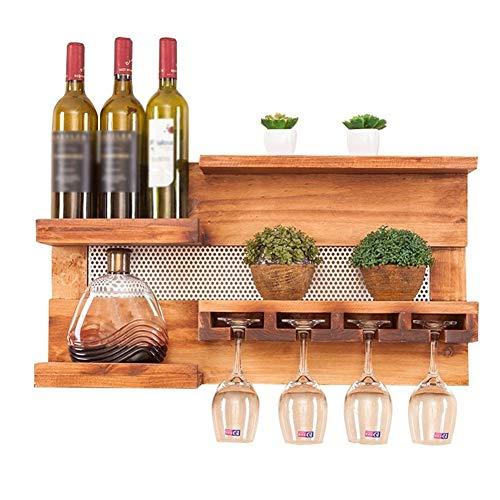 STARAYS Massivholz Weinregal, handgemachte amerikanische Wandbehang Weinregal Restaurant Becher Rack, geeignet für Küche, Esszimmer, Wohnzimmer Dekoration -