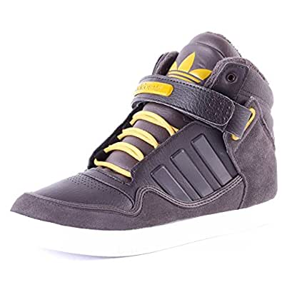 adidas Originals Men's Ar 2.0 Winter Dark Brown, Yellow and Grey Leather Basketball Shoes - 12 UK
