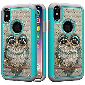 Beddouuk iPhone X Hülle,iPhone X Outdoor Schutzhülle,Dual Layer [Hybrid] 2-teilige Premium Handyhülle Silikon TPU Schale+PC Back Cover für iPhone X Case Cover-Eule