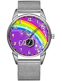 Mode Impermeable Reloj Minimalista Personalidad patrón Reloj de 734 Rainbow con el Nombre Purple Reloj de