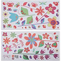Walplus 50x70 cm Wall Stickers Colourful Flowers and Butterflies Premium Removable Self-Adhesive Mural Art Decals Vinyl Home Decoration DIY Living Bedroom Office Décor Wallpaper Kids Room Gift, Multi-colour