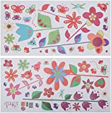 WALPLUS Colorful Flowers and Butterflies - Adesivi per parete, motivo fiori e farfalle