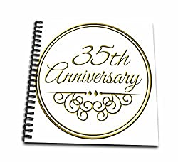 3dRose db_154477_3 35th Anniversary Gift-Gold Text for Celebrating Wedding Anniversaries-35 Years Married Together-Mini Notepad, 4 by 4