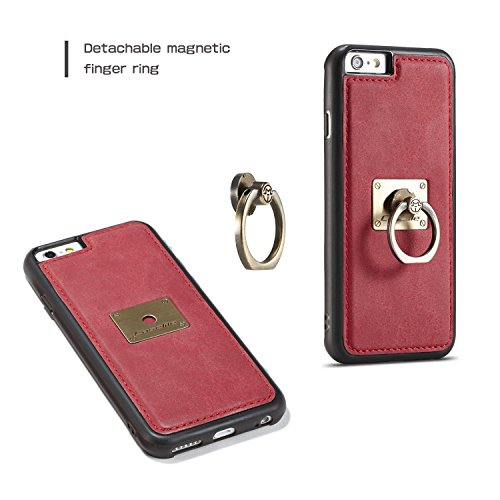 Handy-Hüllen & Hüllen, CaseMe für Apple iPhone 6s Plus zurück Fall, magnetische Wölbungshalterung mit 360 drehender Finger Ring Stand TPU PC rückseitige Abdeckung für iPhone 6 Plus ( Farbe : Braun ) Rot