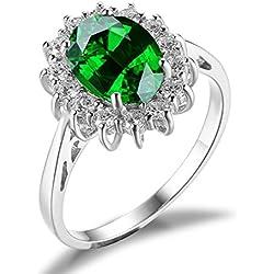 Jwelrypalace 3ct Prinzessin Grün Nano Russischen Simulierte Smaragd Luxus Damen Silberring Ring 925 Sterling Silber