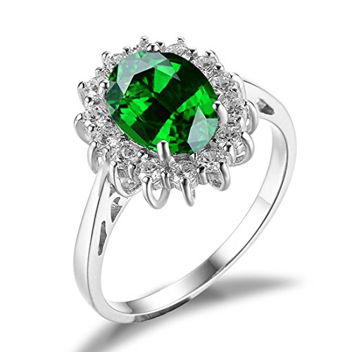 JewelryPalace Donna Gioiello 2.5ct Creato Verde Smeraldo Principessa Diana William Kate Middleton Anello di Fidanzamento 925 Argento Sterling Regalo di San Valentino - Smeraldo Trasparente Anello