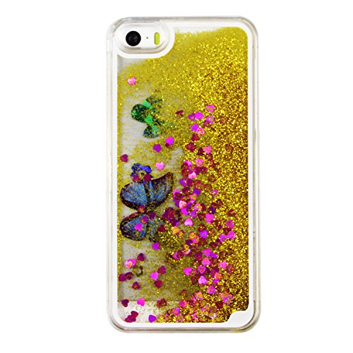 iPhone SE Hülle Transparent,iPhone SE Hülle Glitzer,iPhone 5S Schutzhülle Hülle Hard Case Liquid Cover für iPhone SE,EMAXELERS iPhone 5 Hülle Clear Bling Luxus Shiny Glanz Glitter Glitzer Sparkle Hart Butterfly 6