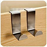 KitMax (TM 6Stück S geformte Edelstahl gebürstet Reversible über Tür Küche, Waschbeckenunterschrank Zeichnen Tuch Handtuch Tasche Kleiderbügel Haken platzsparend Organizer Knüpfteppich Kits