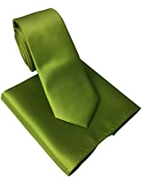 Lime Green Skinny Tie and Matching Pocket Square