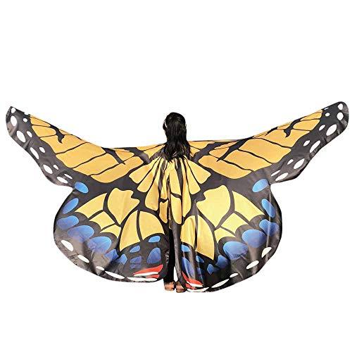 WOZOW Damen Schmetterling Schmetterlingsflügel Kostüm Karneval Fasching Faschingkostüme Poncho Schal Tuch Umhang für Party Cosplay (Yellow)