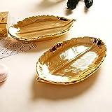 Treasure-House foglia oro Trinkle Dish gioielli vassoio piatto di ceramica decorativa piastra per collana orecchini anelli bracciale organizer
