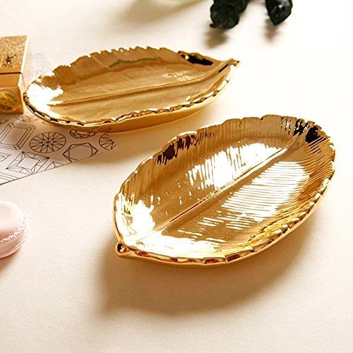 Gold Leaf Teller (Treasure-House Blattgold Trinkle Gericht Schmuck Tablett Keramik Teller Deko Teller für Halskette Armband Ohrringe Ringe Organizer)