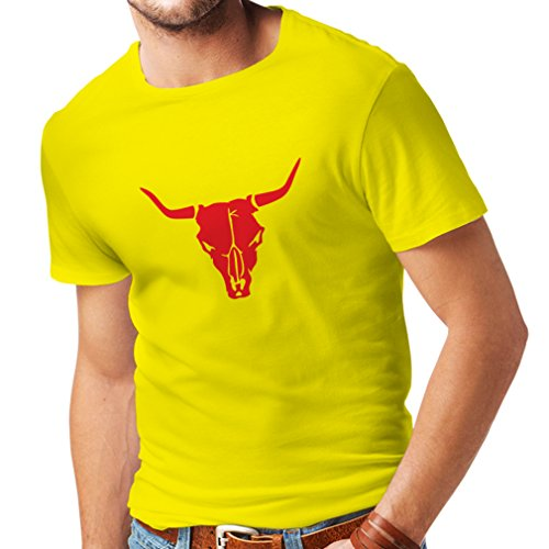 lepni.me N4063 Männer T-Shirt Stierschädel Stacheldraht Farm-Land (X-Large Gelb Rote) (Farm Gelb T-shirt)