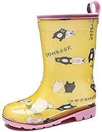 Brooklyn Walk Kids Rain Boots Cute Fashion Boots for Girls Bear Print Yellow Colo r