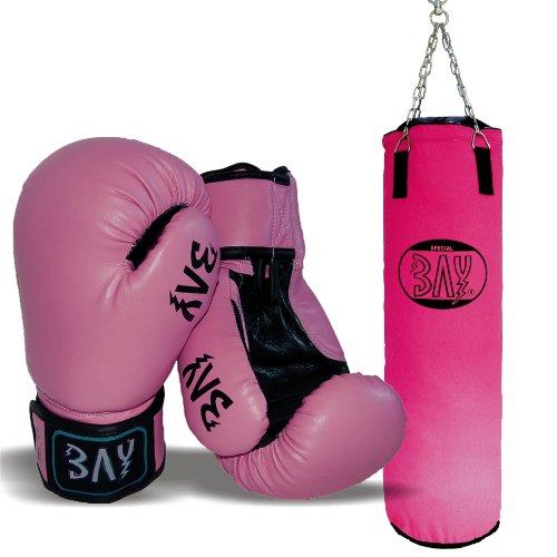 """BAY® Boxset PINK Sandsack 130x35 cm mit\""""FUTURE\"""" pink 6 Unzen Handschuhe"""