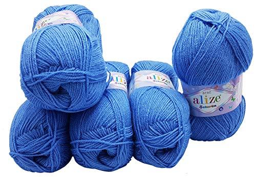 5 gomitoli di lana da 100 g alize bebe blu n. 112, 500 grammi per lavoro a maglia e uncinetto