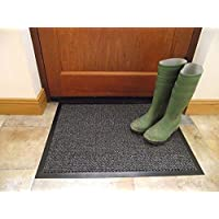 TrendMakers Machine Washable Grey Black Heavy Quality Non Slip Hard Wearing Barrier Mat. Available in 8 sizes (60cm x 90cm)