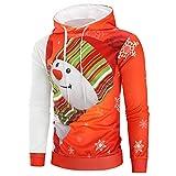 Herren Weihnachten Shirts,❤️Binggong Herren 3D Graffiti Pullover Langarm-Kapuzenpulli Tops Bluse