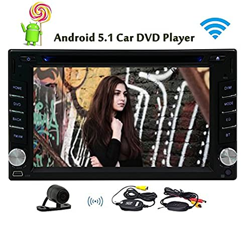 Quad-Core-Android 5.1 Lollipop Auto Autoradio-WIFI 3G Stereo Doppel 2Din Head Unit mit 6,2 Zoll 800 * 480 kapazitiven Touchscreen-Unterst¨¹tzung GPS Navigation Bluetooth Lenkrad-Steuerung AV-Ausgang + HD Wireless Rear-Kamera - Quad Capo