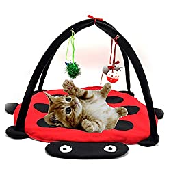 Homedeco Cat Play Mat Activity Pet Kitten Padded Bed Cat Play Center with Hanging Toy Balls and Mice for Cats