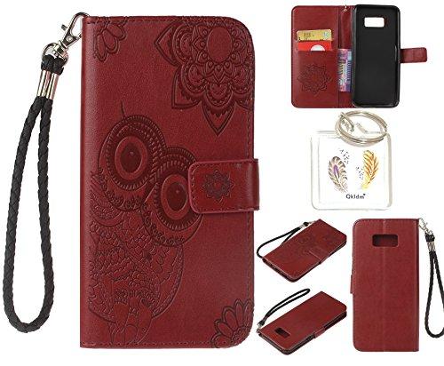 Preisvergleich Produktbild für Samsung Galaxy S8+ S8 Plus PU Leder Silikon Schutzhülle Handy case Book Style Portemonnaie Design für Samsung GalaxyS8+ S8 Plus + Schlüsselanhänger ( RDX (6)
