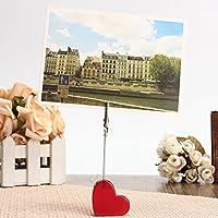 Bluelover 3pcs cuore rosso immagini resina Alligator Clip Card Stand foto carta titolare Memo graffetta messaggio
