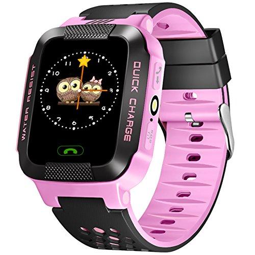 Gps-child-tracker-armband (ALLCACA Kids Smart Watch Multifunktions-GPS-Tracker Anti-verlorene SOS Smart Armband, Geeignet für iPhone und Android Smartphone, Schwarz und Pink (pink))