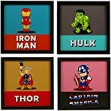 INDIANARA 4 Piece Set of Framed Wall Hanging Kids Room Decor Iron Man Hulk Thor Captain America Art Prints 8.7 inch X 8.7 inch Without Glass