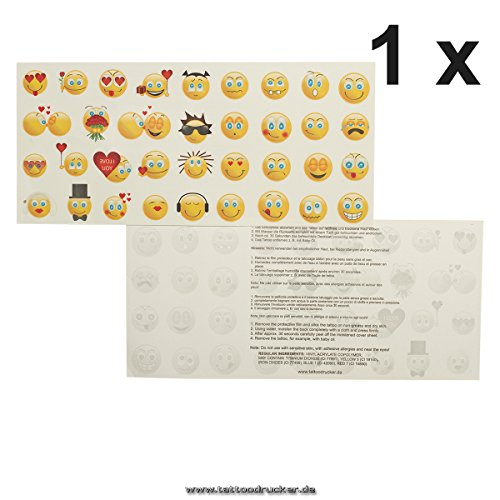 1 x Smiley Tattoo Karte mit je 35 Emoji - 35 Bunte Emojicon Temporary Haut Tattoos (1)